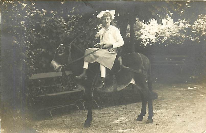 REAL-PHOTO-YOUNG-LADY-RIDING-SIDE-SADDLE-DONKEY-EARLY-K70027